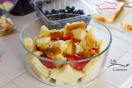 Patriotic Trifle Dessert - add in the berries and cake pieces