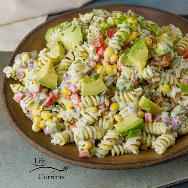 Skinny Avocado Ranch Pasta Salad