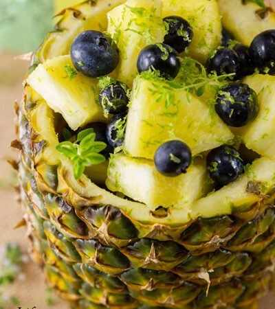 Pineapple Blueberry Fruit Salad in a Pineapple Bowl So yummy and so healthy. It's the perfect summer treat. Or, any season for that matter!