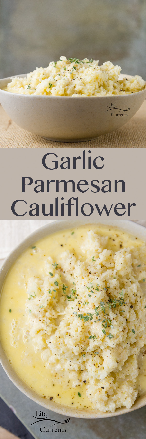 Garlic Parmesan Cauliflower - Healthy cauliflower in a light garlic Parmesan cream sauce - the perfect side dish for any occasion, a weeknight meal, a family holiday meal