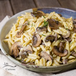 Miso Tahini Pasta with Garlic Sautéed Mushrooms With only 3 ingredients, this easy to mix up vegan, dairy-free, and gluten-free sauce is ready to go on your favorite pasta any night of the week.