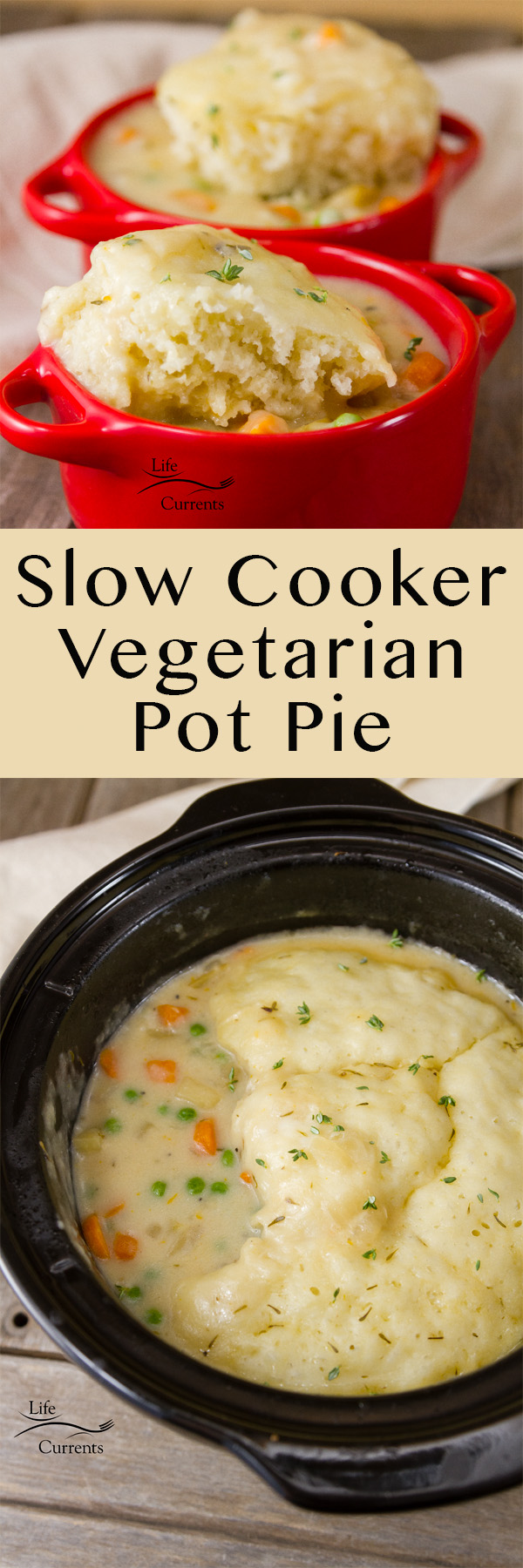 Comfort food is as close as your slow cooker (or crock pot). And, this Slow Cooker Vegetarian Pot Pie is easy to make and the whole family will love it.