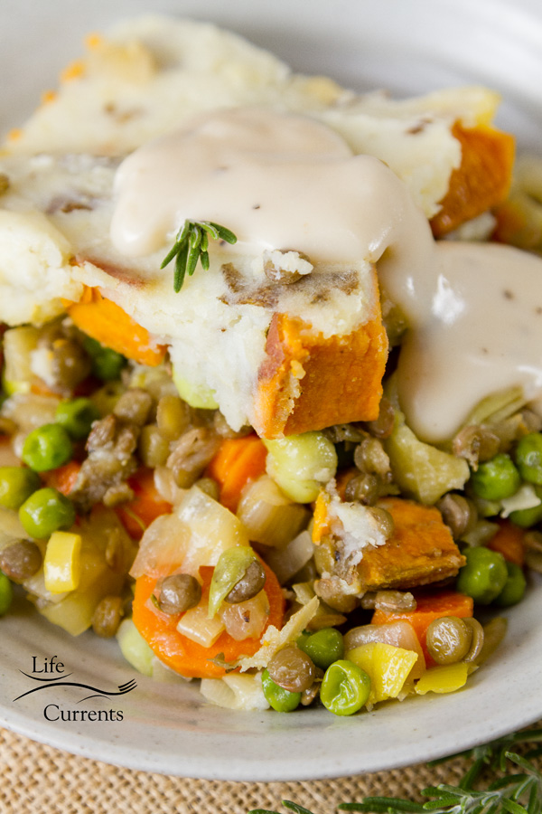 Vegetarian Shepherd's Pie can be served as is, or serve it with gravy.