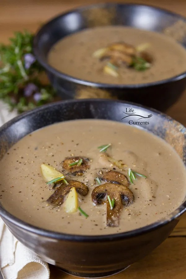 This full flavored cozy vegetarian Roasted Garlic Mushroom Soup is filled with yummy things, from lots of mushrooms, to smoked paprika, and the roasted garlic.