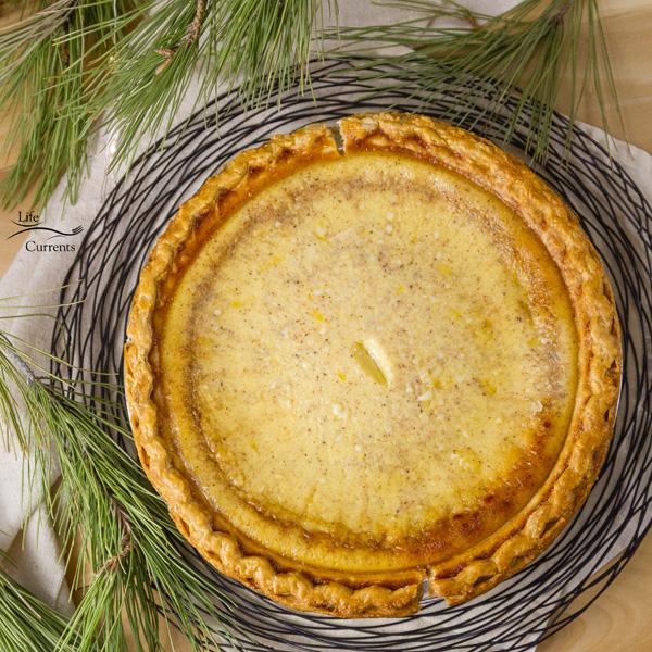 Eggnog Custard Pie recipe - delicious, easy to make, silky egg custard holiday pie