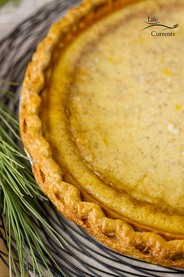 Eggnog Custard Pie - this easy to make and deliciously festive pie will be a hit at the holidays