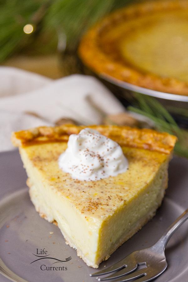 Eggnog Custard Pie - a festive treat for the holidays
