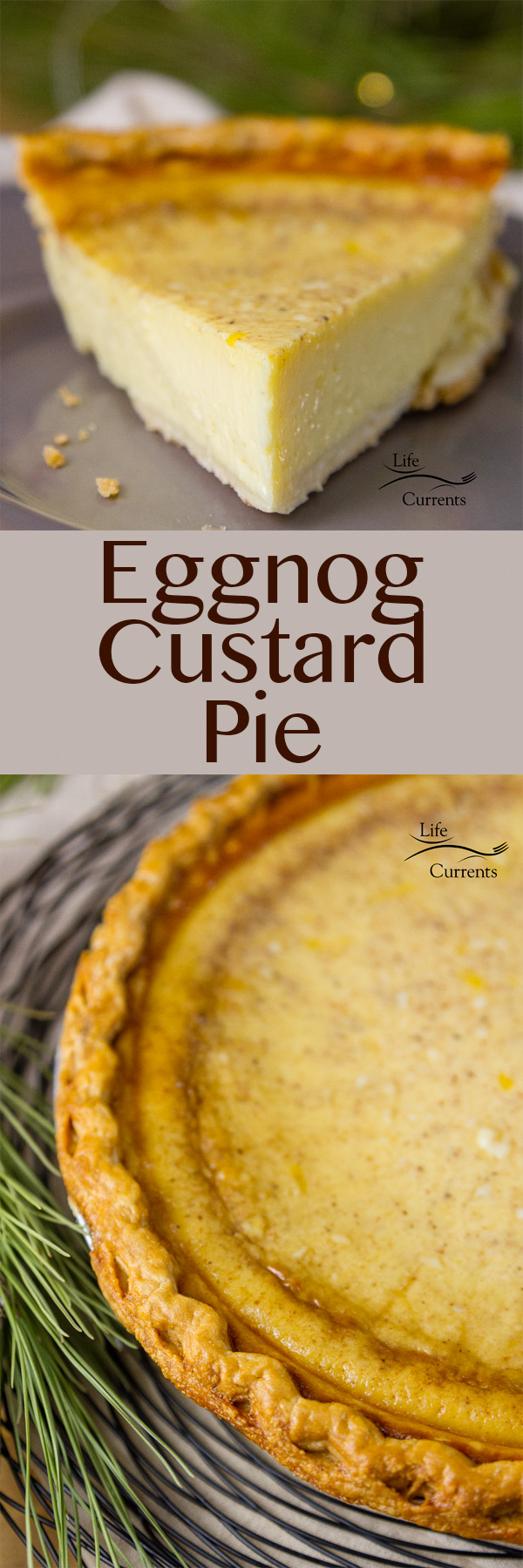 Eggnog Custard Pie is a delicious, easy to make, silky egg custard holiday pie that's filled with the wonderful festive flavors of the season.