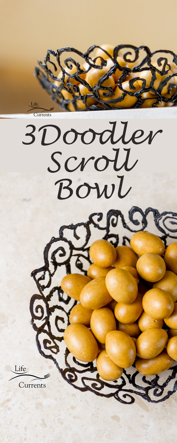 How to Make a Scroll Bowl using the 3Doodler - a great craft project for so many people! It's fairly easy to make, and the results are beautiful! I have a nice bowl for candy or nuts, or I have a great gift to give to a loved one
