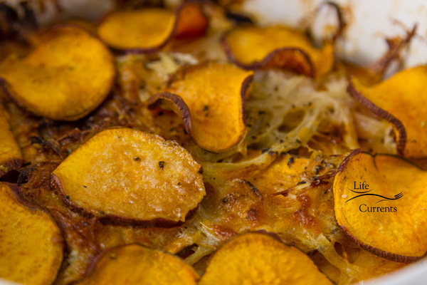 With layers of thin sweet potatoes and a quick light cheese sauce that's made as the casserole bakes, this great Sweet Potato side dish is pretty enough for guests, and easy enough for any day of the week!
