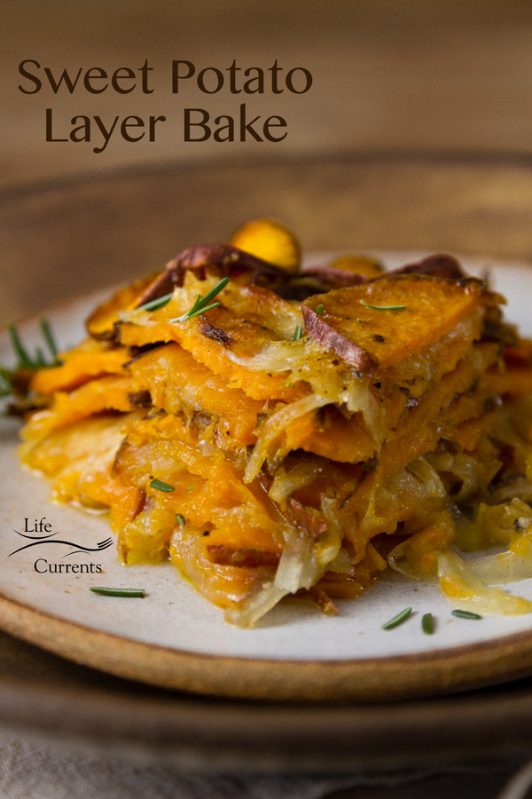 This easy to make Savory Sweet Potato Layer Bake Casserole is full of onions, Parmesan, Monterey Jack cheese, (not to mention sweet potatoes), and baked to perfection.