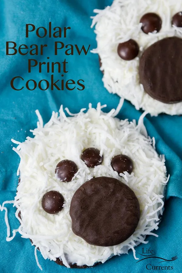 Super adorable and easy to make Polar Bear Paw Cookies will be a hit at any cookie party, cookie exchange, or winter holiday gathering.
