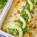 I have a delicious and quick 30-minute meal recipe for Creamy Verde Fiesta Enchiladas for you today.