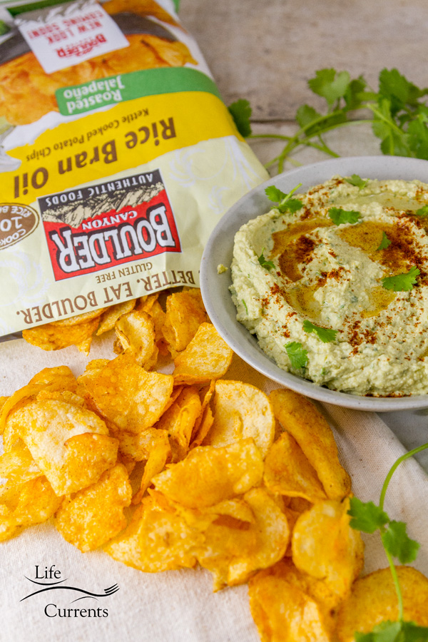 Roasted Jalapeno Rice Bran Oil Kettle Cooked Potato Chips with Roasted Jalapeño and Avocado Hummus