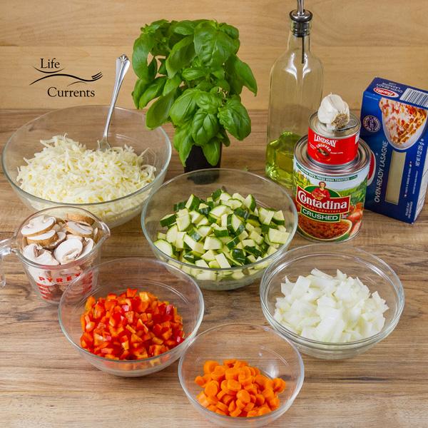 Vegetarian Vegetable Lasagna Recipe - ingredients, without the white sauce ingredients