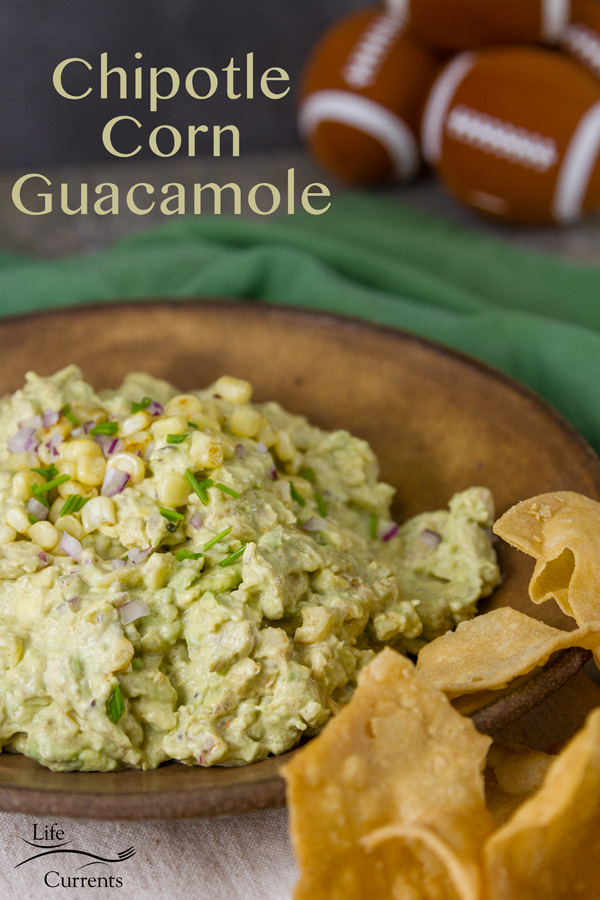 Chipotle Corn Guacamole This is a delicious twist on the classic guacamole recipe. With smoky chipotle, sweet toasted corn, and creamy avocados.