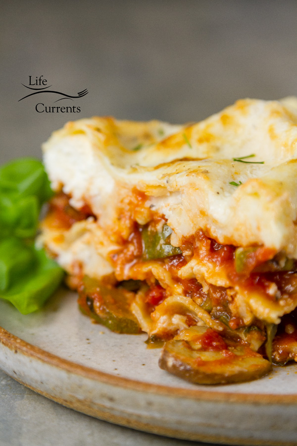 Vegetable Lasagna Recipe With lots of healthy vegetables including zucchini, red peppers, mushrooms, carrots, onion, and tomatoes, all topped with a lovely white sauce, this lasagna is flavorful, but not at all heavy.