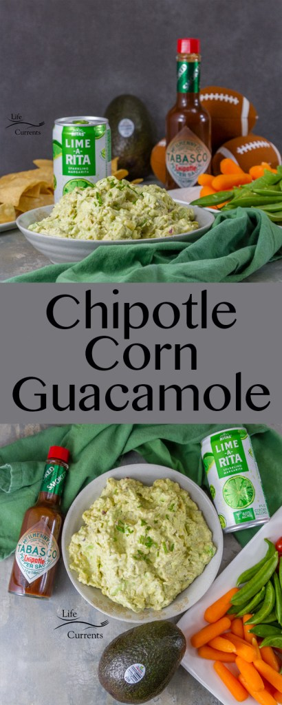 Chipotle Corn Guacamole #ad made with Avocados From Mexico, toasted corn, and TABASCO® Chipotle Sauce served paired with @RITAS to drink will score a touch down with all your party guests. #AvocadosFromMexico #SavorWinningFlavors #FlavorYourWorld #HAVEARITA This is the perfect appetizer for the Big Game.