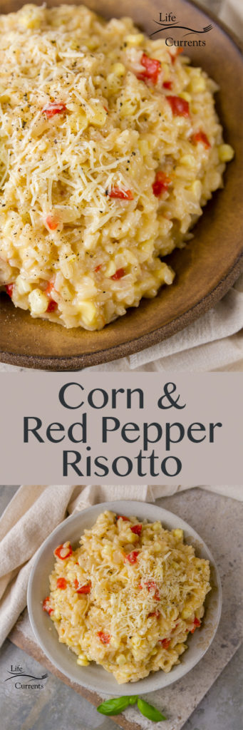 Corn and Red Pepper Risotto - Creamy risotto with sweet corn, tangy roasted red bell pepper, and Parmesan cheese - it's a naturally gluten-free vegetarian dish made in heaven