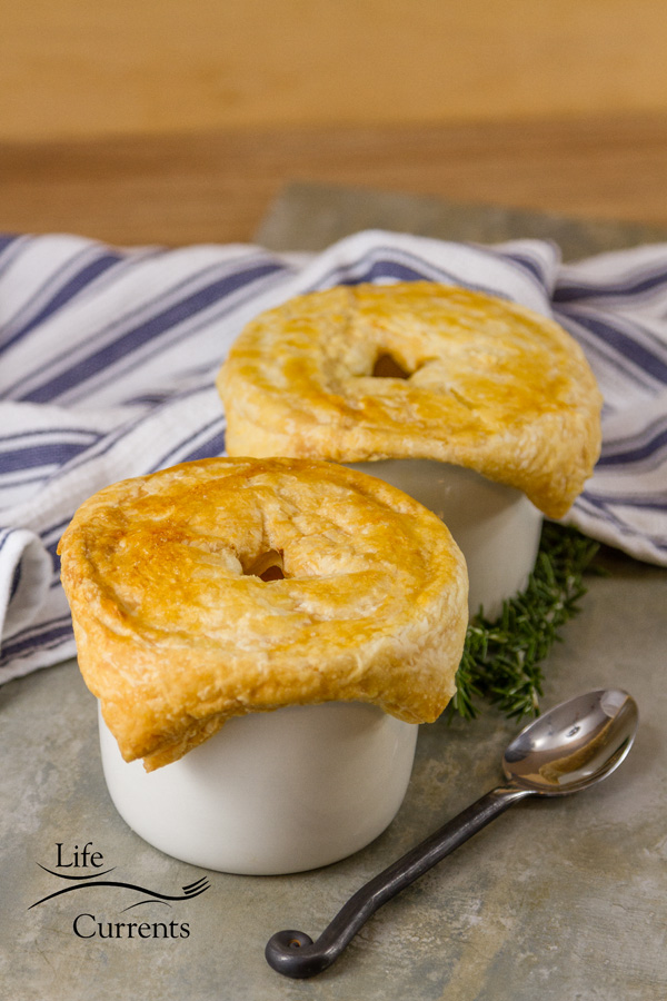 Sausage and Potato Pot Pie – delicious individual pot pies - easy to make stew filling topped with flaky puff pasty