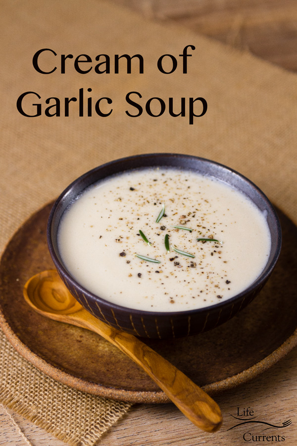 Cream of Garlic Soup -- If you're a garlic lover, this delicious vegetarian soup is for you.