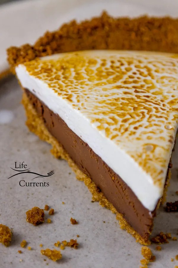 Chocolate S'More Pie Recipe - homemade graham cracker crust, dark chocolate, homemade marshmallows, toasted and delicious dessert