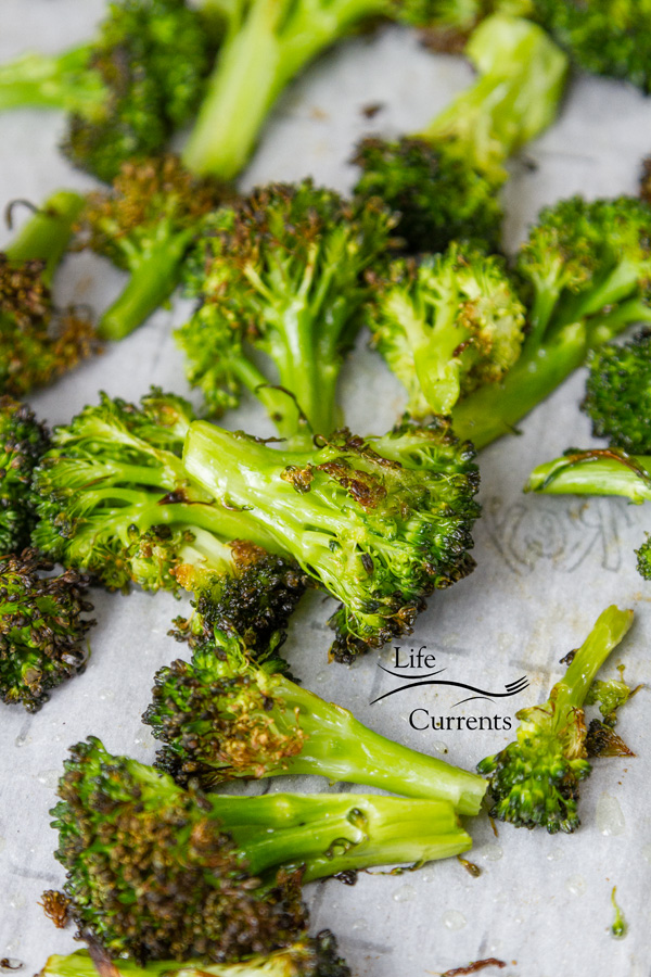 Honey Orange Roasted Broccoli - this is the plain roasted broccoli after coming out of the oven, no sauce