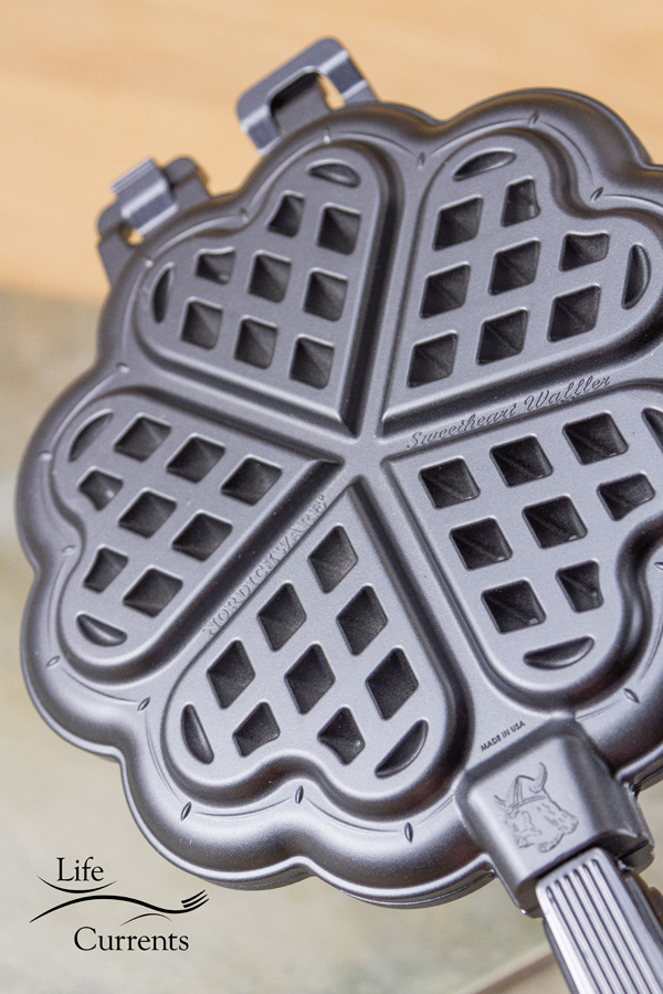 Waffle Iron Stuffed Pizza made with the Nordic Ware Sweetheart Waffler