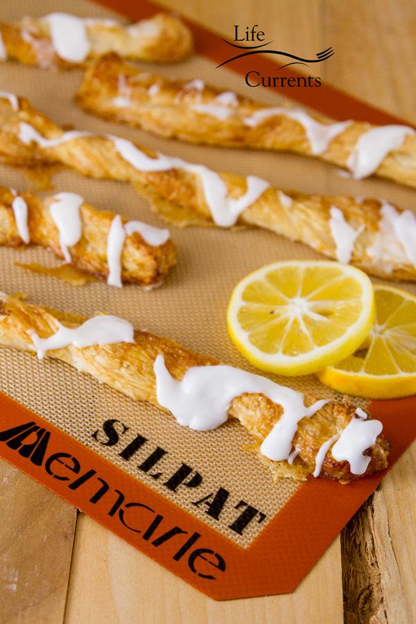 Lemon Puff Pastry Sticks Recipe baked on Silpat mats