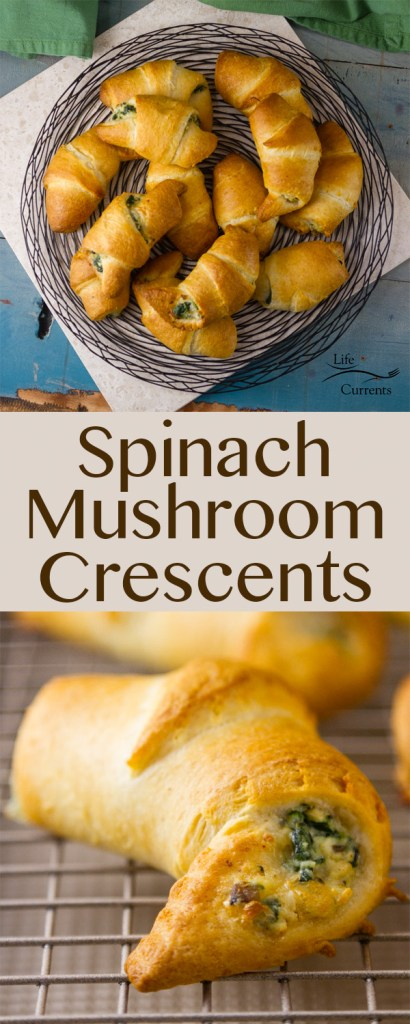 Spinach Mushroom Crescents Recipe - a great vegetarian appetizer or side dish with healthy cheesy spinach & mushroom filling