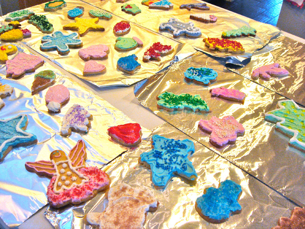 Aunt Lois' Frosting at a cookie decorating party with some of the finished cookies