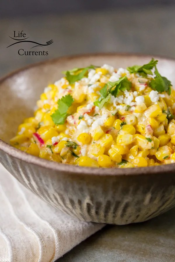 It's easy to make the Mexican street corn for this main dish salad bowl recipe. Shrimp and Mexican Street Corn Bowl