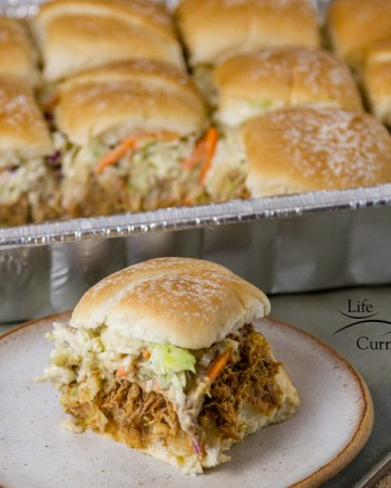 Crock pot or slow cooker Pulled Pork Sliders with Ranch Coleslaw recipe serve a crowd party summer gathering pool party
