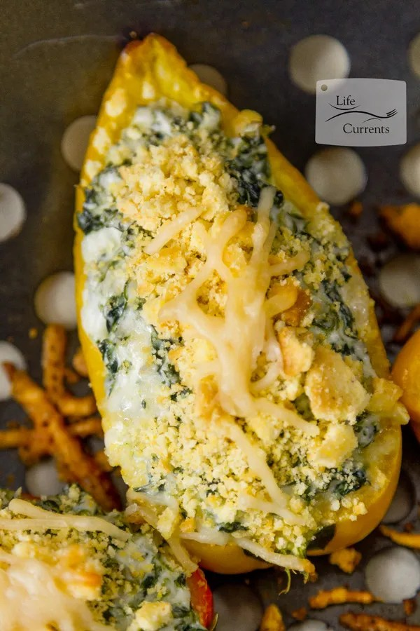 Grilled Cheesy Spinach Dip Stuffed Peppers Hot cheesy spinach dip inside sweet mini peppers with a crunchy cornbread topping. These party appetizers are easy to make, and your summer party guests will love them.