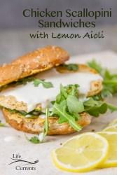 Chicken Scaloppini Sandwich with lemon aioli lightly seasoned meat-free chick'n scallopini patty on Parmesan toasted wheat bun with fresh arugula and lemon aioli.