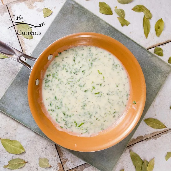 This Creamy Basil Sauce is a nice simple summer sauce. A basic white sauce that's been taken up a notch or two with the addition of a little garlic and basil.