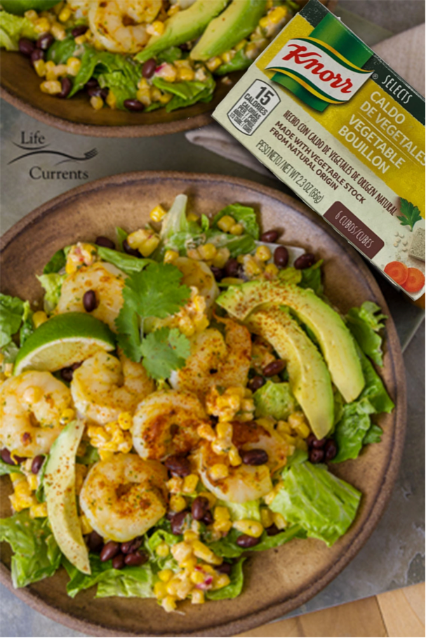 This Shrimp and Mexican Street Corn Bowl is a sponsored conversation written by me on behalf of Knorr®. The opinions and text are all mine.