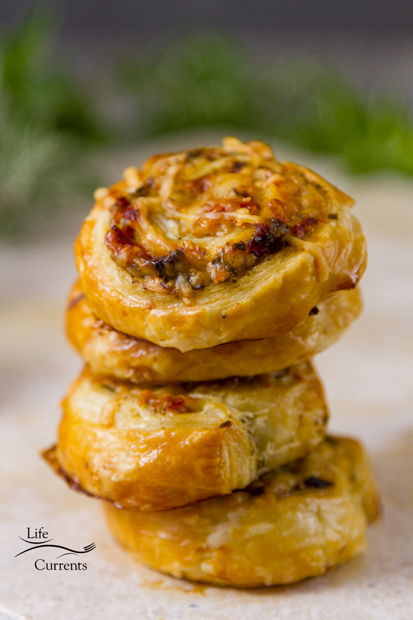 Pesto Puff Pastry Pinwheels These roll ups or pinwheels are so easy to make, and so impressive looking and tasting.