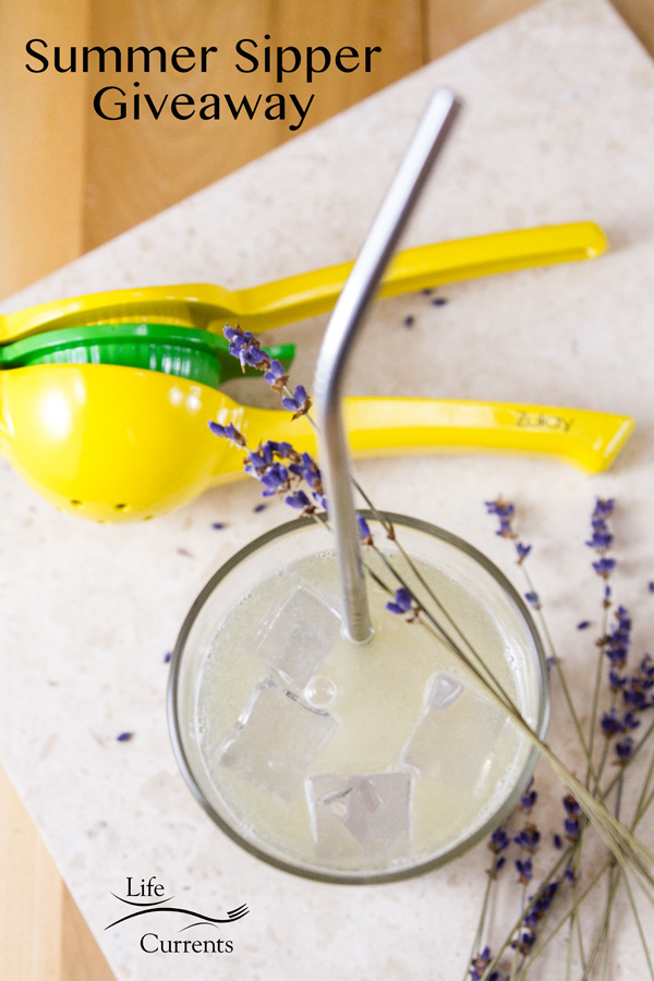 Summer Sipper Giveaway image with the stainless steel straw, citrus squeezer, and lavender lemonade