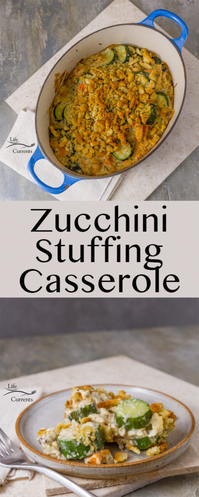 Long pin image for Pinterest for Zucchini Stuffing Casserole Recipe