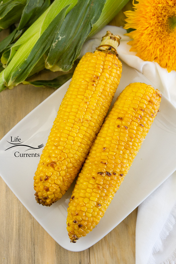two ears of corn on a white plate with a sunflower and corn still in the husks