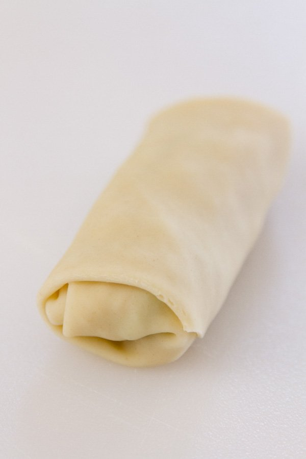 How to roll an Egg Roll: all rolled up and ready to be brushed with egg wash