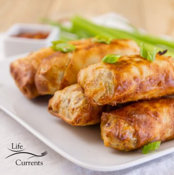 a stack of egg rolls that were cooked in the air fryer and garnished with green onions