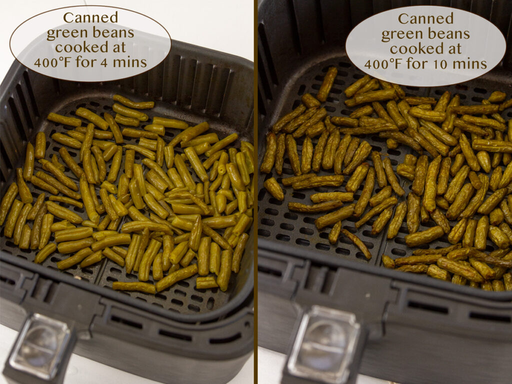 comparing two different cooking times for air fryer canned green beans