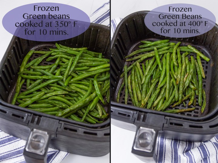 test comparasion of green beans cooked in an air fryer - 350 vs 400 degrees F