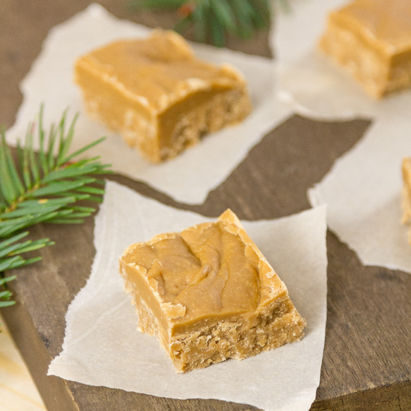 square crop of brown suagr fudge on pieces of parchment paper on a wooden background with fir tree branches