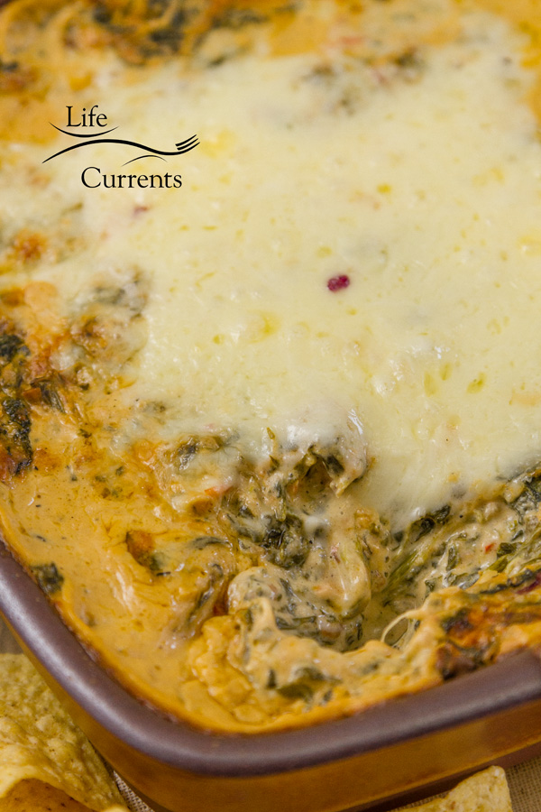 close up on the Hot Cheesy Fiesta Spinach Dip covered with cheese