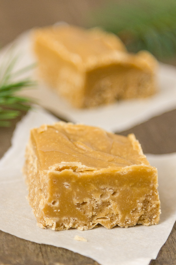 close up of Brown Sugar Fudge on parchment paper
