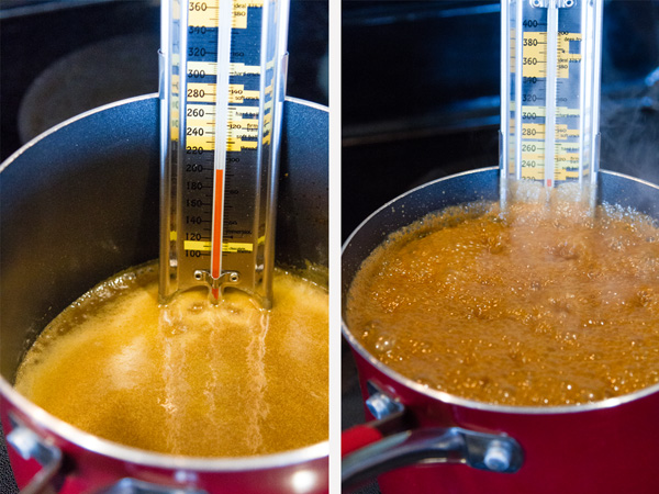 tow images of candy cooking with a candy thermometer in each pan