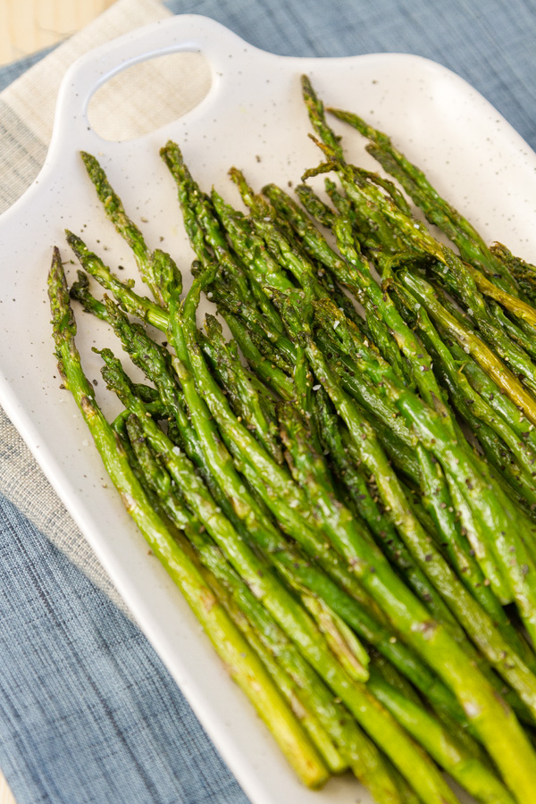 asparagus on a white platter